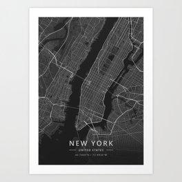 New York, United States - Dark Map Art Print