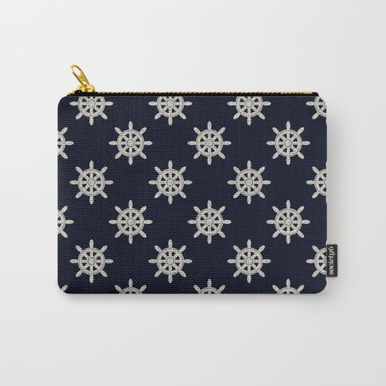 Maritime Design- Nautic Wheel in white on darkblue backround Carry-All Pouch