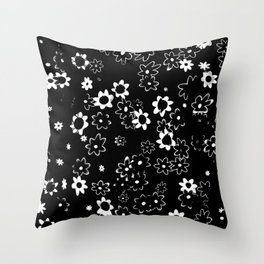 Black and White Floral Pattern Throw Pillow