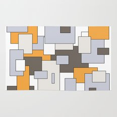 Squares - gray, orange and white. Rug
