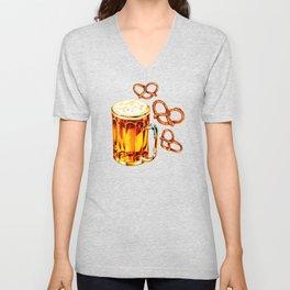 Beer & Pretzel Pattern Unisex V-Neck