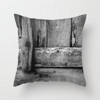 wooden Throw Pillows featuring wooden by Bonnie Jakobsen-Martin
