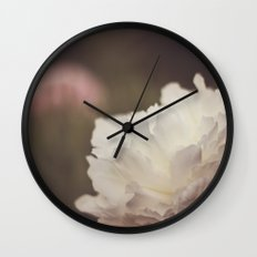 White and Pink Peonies Wall Clock