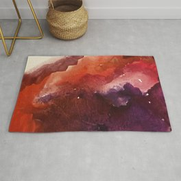 Starlight [3]: a pretty abstract watercolor piece in reds and purples by Alyssa Hamilton Art Rug