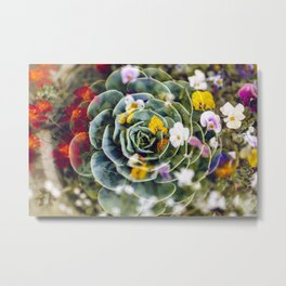 Succulents & Flowers Metal Print