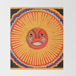 The sun Huichol art Throw Blanket