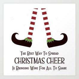 Christmas Cheer Sharing Wine Art Print