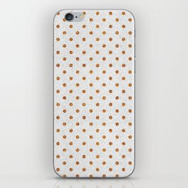 Elegant white modern faux gold glitter polka dots iPhone Skin