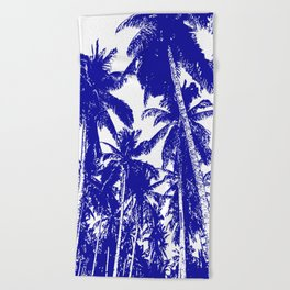 Palm Trees Design in Blue and White Beach Towel