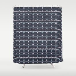 Winter Flakes Pattern Shower Curtain