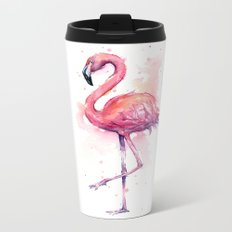 Pink Flamingo Watercolor Tropical Bird Metal Travel Mug