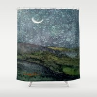 starry night Shower Curtains featuring Starry Night by Linda Ginn Art ©