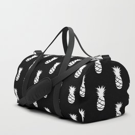 Black and White Pineapple - Modern Tropical Pattern Duffle Bag