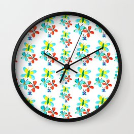 Blue Butterfly Pattern Wall Clock