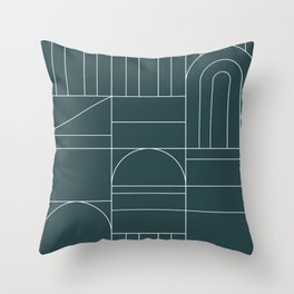 Deco Geometric 04 Teal Throw Pillow