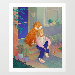 Staring at the Moon Art Print