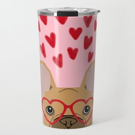French Bulldog head valentines day love hearts dog breed frenchies Travel Mug