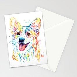 Corgi Colorful Watercolor Pet Portrait Painting Stationery Cards