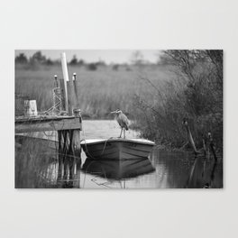 Blue Heron on Fishing Boat II Canvas Print