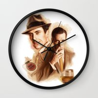 mad men Wall Clocks featuring MAD MEN DON DRAPER by TOXIC RETRO