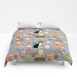Chihuahua bubble tea kawaii boba tea cute dog breed pattern dog art chihuahuas Comforters