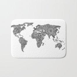 Lords Prayer Zentangle World Map  Bath Mat