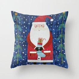 Santa with Stocking Throw Pillow
