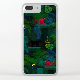 Animals in the jungle on the ruins Clear iPhone Case