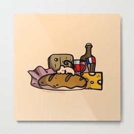 Mouse's French Food Jackpot (Yellow Background) Metal Print
