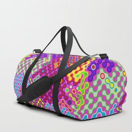 Abstract Psychedelic Pop Art Truchet Tile Pattern Duffle Bag