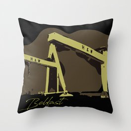 Iconic Harland and Wolff vector art Belfast Throw Pillow