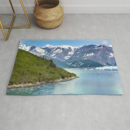 A scenic view from a ship of the Glacier Bay National Park and Preserve. Rug