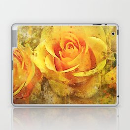 Watercolor Yellow Roses | High Quality On Stretched Canvas Laptop & iPad Skin