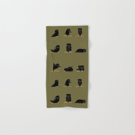 Black Pug Yoga Hand & Bath Towel