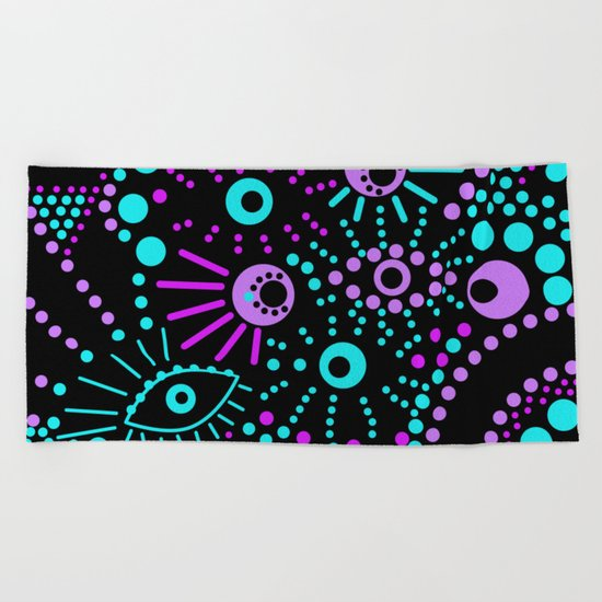 Abstract polka dot purple , black , turquoise . Beach Towel