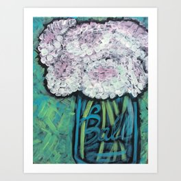 Pink & White Cotton Bloosoms Art Print