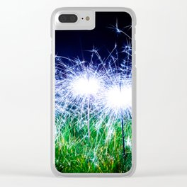Blue sparklers in the grass Clear iPhone Case