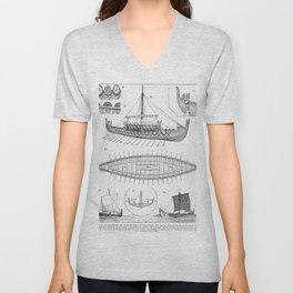Vintage Viking Naval Ship History and Diagram Unisex V-Neck