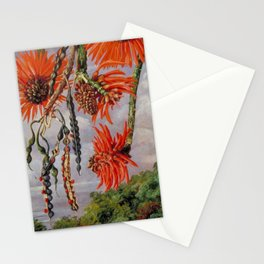 Flowering Red Coral Tree Tropical Flowers still life painting Stationery Cards