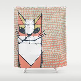 Cubist Cat Study #7 by Friztin Shower Curtain