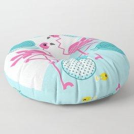 1980's Memphis Style Pink Flamingos Floor Pillow