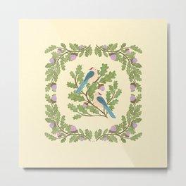 Art Nouveau Illustration / Square / Birds on Oak Tree / Blue Feathered Birds Metal Print