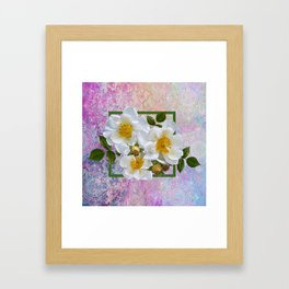 White Flowers with Inset Framed Art Print