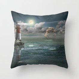 Lighthouse Under Back Light Throw Pillow