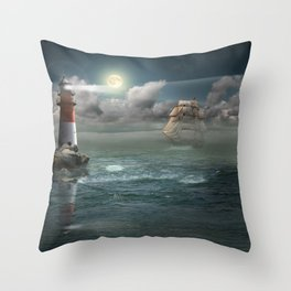 Lighthouse Under Back Light Throw Pillow