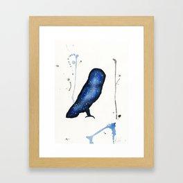 Blue Nebula Owl Framed Art Print