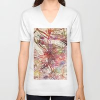 portland V-neck T-shirts featuring Portland by MapMapMaps.Watercolors