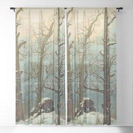 Caspar David Friedrich Trees in Snow Sheer Curtain