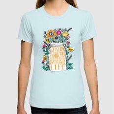 ALWAYS LOOK ON THE BRIGHT SIDE... LARGE Womens Fitted Tee Light Blue