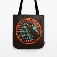 black cat Tote Bags featuring Black Cat by BATKEI